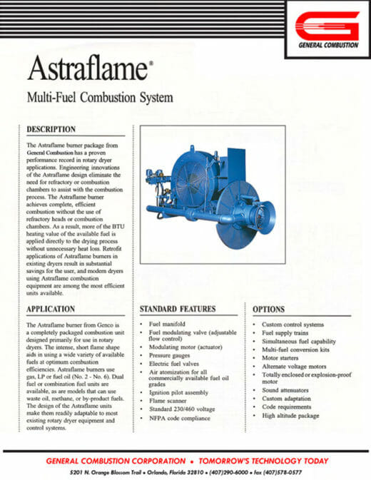 Gencor Astraflame Combustion System