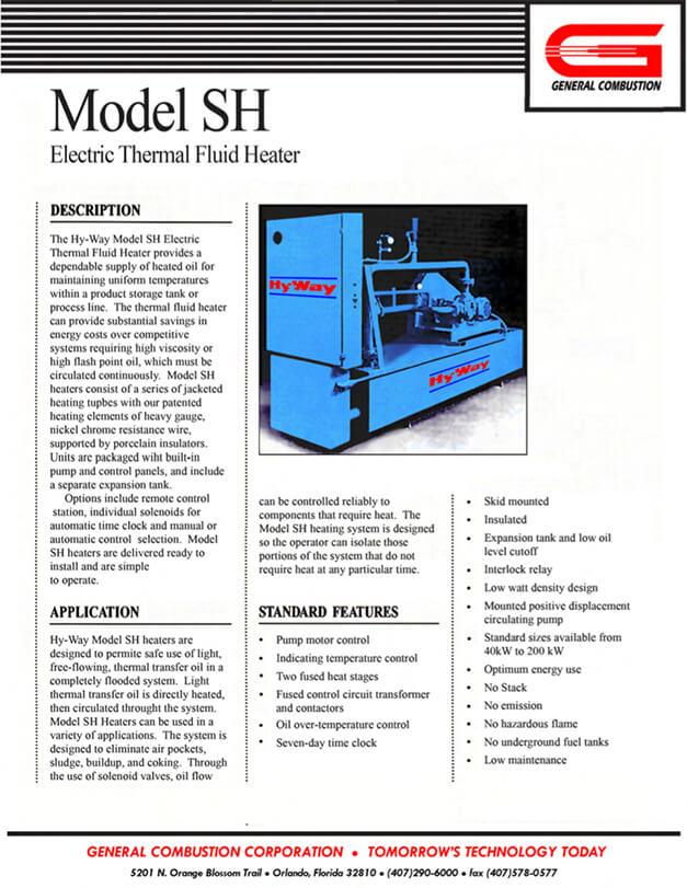 Gencor Thermal Fluid Heater SH Electric