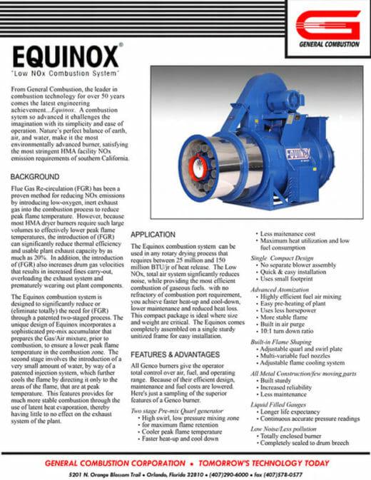 Gencor Equinox Combustion System